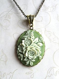 Vintage Green Cameo Necklace  sage green  long by botanicalbird, $24.00