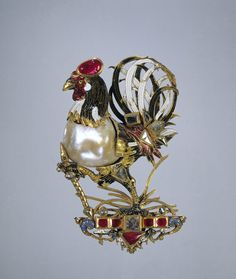 Pendant in the form of a cock, pearl, enamel, diamonds and rubies. Northern Germany, circa 1600-1610