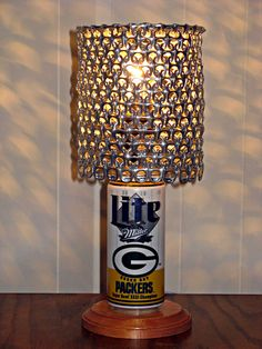 Vintage Miller Lite Green Bay Packers Superbowl 31 Champions Beer Can Lamp With Pull Tab Lampshade - The Mancave Essential. $35.00, via Etsy.