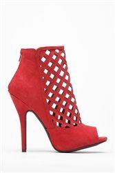 Wild Diva Bridget-27 Red Crossed Caged Wine Peep Toe Heel