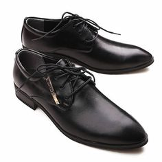 Classic Men Black Leather Lace Up Wedding Prom Dress Oxford Shoes SKU-1100526