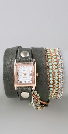 I so want this watch!    La Mer Collections  Turquoise Crystal Chain Wrap Watch  www.shopbop.com