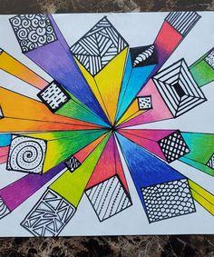 Middle School Art Projects, Classroom Art Projects, Art Classroom, Line Art Projects, Back To School Art, Perspective Art, 1 Point Perspective Drawing, Geometric Shapes Art, 6th Grade Art