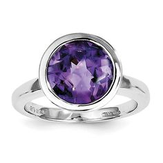 Sterling Silver Rhodium-plated Amethyst Ring