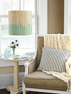 Paint-Stick Lampshade, just another crafty idea from Country Living. See what else they have up their sleeve.