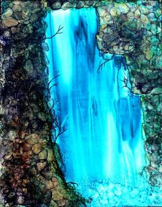 Alcohol Ink Painting on Yupo Paper of Mystical Waterfall, Abstract Art, Abstract Painting