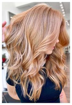 Copper Blonde Hair, Golden Blonde Hair, Red To Blonde, Blonde Hair Looks, Blonde Color, Reddish Blonde Hair, Carmel Blonde Hair, Auburn Blonde Hair, Golden Hair Color