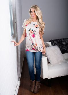 Beige Floral Cap Sleeve Twist Top! Boutique, Online Boutique, Women's Boutique, Modern Vintage Boutique, Top, Tank Top, Pink Top, Laced Top, Cute, Fashion