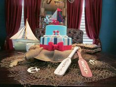 Nautical baby shower cake table