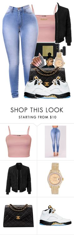 """""""C H A N E L"""" by kickinback-andvibin ❤ liked on Polyvore featuring WearAll, Chanel, LE3NO, Rolex, NIKE and Kris Nations"""