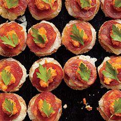 Melted Manchego Tortas with Romesco and Chorizo | MyRecipes.com