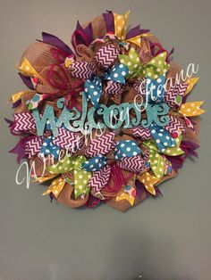 Spring deco mesh wreath, year round wreath, burlap mesh wreath, #92 Wreaths by Ileana $75.00