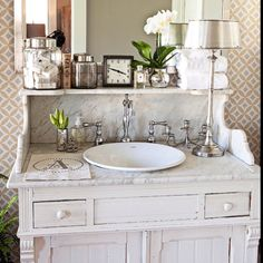 Love this vanity! But two of them? What if they didn't match but were the same style/size?! (ohhh!)