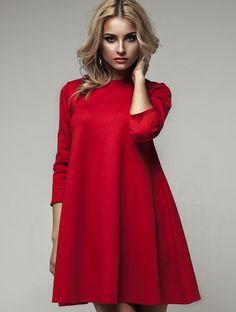 """Яркое красное расклешенное платье """"Трапеция"""", фото 1"""