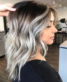 Gray Lace Frontal Wigs long white blonde hair – wigsshort Best Picture For ombre hair styles For You Hair Color Highlights, Ombre Hair Color, Hair Color Balayage, White Highlights, Ash Ombre Hair, Brown Hair Silver Highlights, Haircolor, Brown Balayage, Caramel Highlights