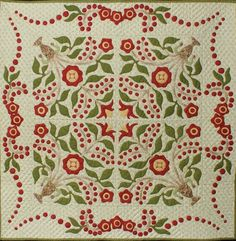 "1407.JPG - First Place Ribbon (Merit Hand Quilting)       Honorable Mention Ribbon (Hand Applique, 1 person)       'Little Lily' - 35"" x 35"" - Quiltmaker: Georgeann Wrinkle; Quiltmaker: Georgeann Wrinkle"