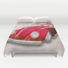VW Beetle Red Duvet Cover - $99.00  Ultra soft, lightweight, microfiber duvet covers. A durable, hidden zipper offers simple assembly for easy care. Available for queen and king duvets - duvet insert not included.  #duvet #bedding #cover #VW #Volkswagen #Beetle #Car #Vintage #Classic #Car