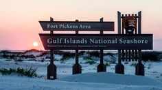 Gulf Island National Seashore, Fort Pickens Area. The Fort Pickens Campground is located near Pensacola and has 200 campsites, w/up to 50' drive. $26.00 a night with water, electricity. Park entrance fee $15/7 day, not included. Max 42 days annually, and max 14 days  March 1 through Labor Day. Labor Day thru Feb, campers may stay a max 14 day increments with a 48 hour absence. Hiking and biking trails, fishing piers, old fort to explore, visitor center and museum.