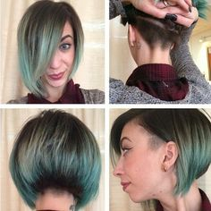 """Not a pixie, but a beautiful #undercut bob on @mazzelyn. #colorfulhair #greenhair #shaved"""