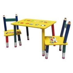 Kids Pencil Style Table and Chairs Set  sc 1 st  Pinterest & Beck Children\u0027s Wooden Pencil Desk and Chair | For Luke | Pinterest ...