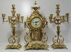 Antique clocks -19thc French 3 piece solid bronze &white marble mantle clock set