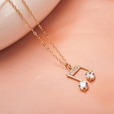 New Fashion Crystal Music Notes Pendant Necklace for Women