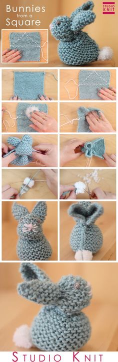 Child Knitting Patterns Easy methods to Knit a Bunny from a Sq. with Studio Knit. through Baby Knitting Patterns Supply : How to Knit a Bunny from a Square with Studio Knit. Baby Knitting Patterns, Knitting For Kids, Easy Knitting, Loom Knitting, Knitting Toys, Pearl Stitch Knitting, Knitting Ideas, Quick Knitting Projects, Yarn Crafts