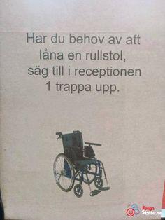 Tanken är god men det känns som de inte riktigt tänkt igenom hela iden. Om man behöver rullstol är det antagligen inte helt lätt att ta sig till andra våningen? Funny Facts, Funny Jokes, Hilarious, Lol, Have A Laugh, Just Smile, Funny Pins, Funny Comics, Funny Photos