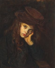 Helen McNicoll, The Brown Hat, c. 1906, oil on canvas, 53.5 x 43.5 cm, Art Gallery of Ontario, Toronto. This portrait is unusual for McNicoll in its dark palette and the direct gaze of its sitter. #ArtCanInstitute #CanadianArt