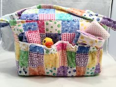 Doll size Diaper Bags in Patchwork Print with Solid Pink Lining and all the goodies by GSRdolls on Etsy
