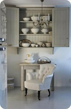 THE BLANK: Painted armchair ~  Wall cupboard