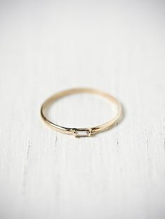 Super fine and delicate gold ring - Baguette Ring by Catbird
