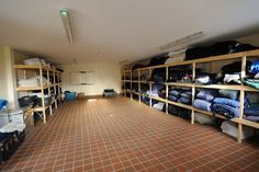 The rug room at British event rider Piggy French's new yard