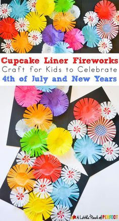 Cupcake Liner Fireworks Craft for Kids: Make colorful fireworks that seem to burst off the page using cupcake liners for an easy Patriotic Craft for the Fourth of July or New Year's Day (easy kids craft, summer, scissor skills)