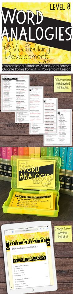 8th grade word analogies that will get your students thinking critically while building vocabulary.