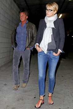 Charlize Therons outfit inspiration. Not sure what's going on with Sean Penn's orange glow.