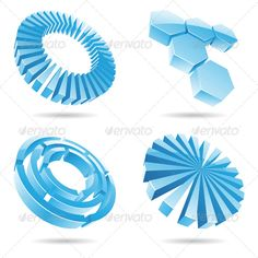#3d Ice #Blue - #Abstract #Icons Download here: https://graphicriver.net/item/3d-ice-blue/131538?ref=alena994