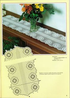 View album on Yandex. Table Runner And Placemats, Crochet Table Runner, Crochet Tablecloth, Crochet Doilies, Crochet Lace, Crochet Square Patterns, Lace Patterns, Types Of Lace, Irish Lace