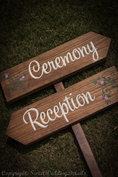 Rustic Wedding Signs, Ceremony or Reception - spring summer winter fall autumn signage chic outdoor wooden signage. $33.00, via Etsy.