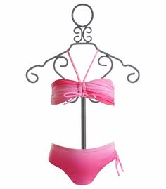 To The 9's Tween Girls Ruched Bandeau Bikini so hipster I love it