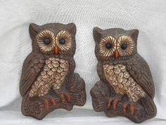Retro 70s Owl Wall Art Plaques - Exactly like mine, got them for $3!