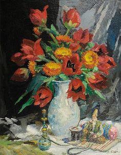 Ibrahim SAFI (1898-1983) Vase de fleurs et petit