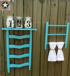 Shelf and towel rack made from re-purposed chair!