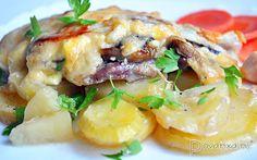 Свинина, запеченная с картофелем, грибами и сыром – пошаговый фоторецепт