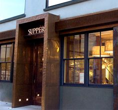 """This is already my favorite restaurant just because of the name: """"Supper"""". I love how a dark exterior and the glowing lights inside already feel inviting Architecture Restaurant, Restaurant Exterior, Restaurant Design, Interior Architecture, Facade Design, Door Design, Exterior Design, Retail Facade, Arquitetura"""