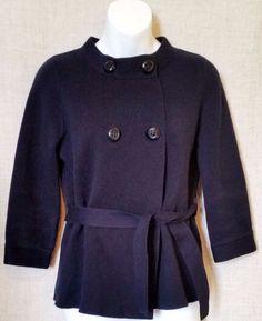 J.CREW Navy Blue Knit Short Cotton Jacket 3/4 sleeve sz S #JCrew #BasicJacket