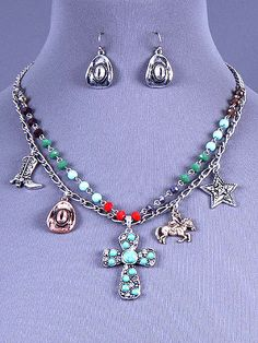 Cowgirl Bling Ranch, LLC - Western Charm Cross Necklace and Earring Set, $13.99 (http://www.cowgirlblingranch.com/western-charm-cross-necklace-and-earring-set/)