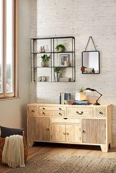 Kommode aus Holz mit orientalischem Muster Spirit Of Summer, Double Vanity, Sweet Home, Room Decor, Cabinet, Storage, Design, Furniture, Glass Display Case