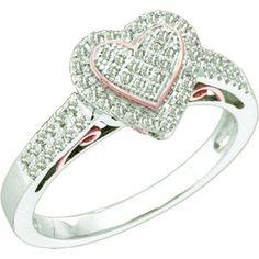 0.30 Carat (ctw) 10k White Gold Brilliant White Diamond Ladies Two Tone Heart Promise Ring - Listing price: $1,396.00 Now: $399.00