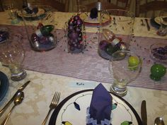 Lavender Christmas!  (Napkin rings are cookie cutters)